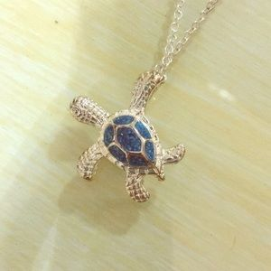 Jewelry - Silver/ Turquoise Turtle Necklace